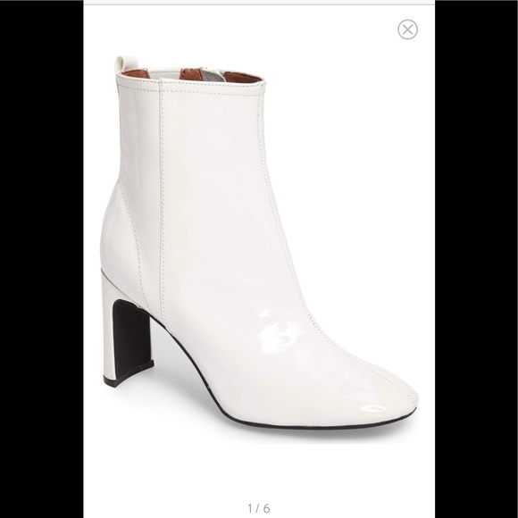 45b12b79700c Jeffrey Campbell white chapel curved heel bootie